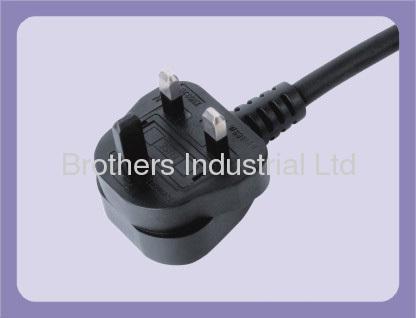 3*0.5-0.75 H03VV-F H05VV-F UK Power cord with 3 pin plug