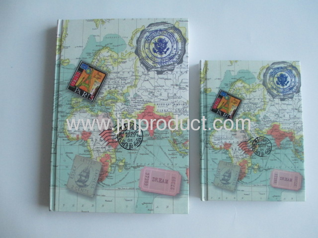Map cover hardbound notebook