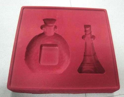 plastic wine bottle tray box container flocking blister package