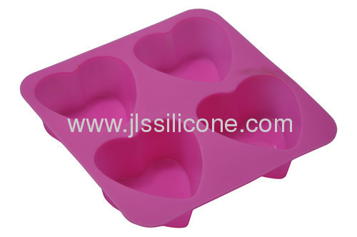 Pink sweet heart shape silicone cake mould wiht 4 cavities