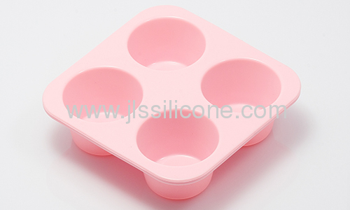 Pink round silicone bakeware baking mold with 4 cavities