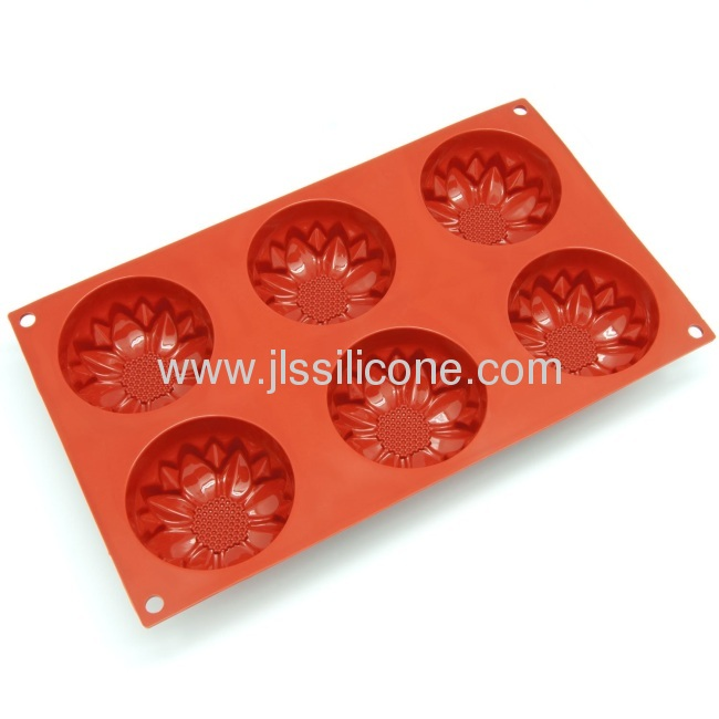 6-flower-shape silicone bakeware muffin pan