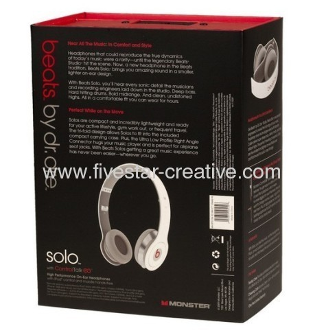 Monster Power Beats by Dr Dre Solo HD On-Ear Headphones with ControlTalk White