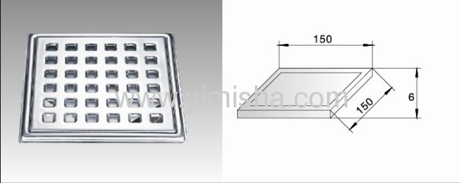 Square Stainless steel floor drain with Clean Out can be used in toilet, kitchen, veranda and public drain area