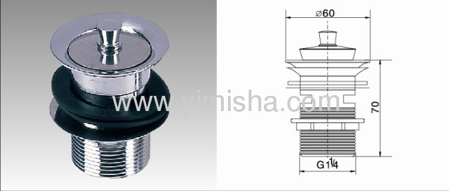 Brass Chrome Plated Waste Drain with Lifting Nut