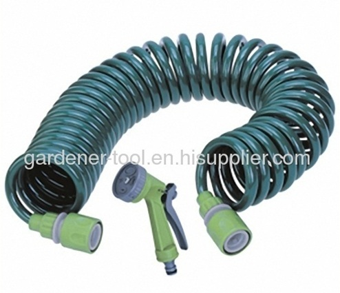 30M Garden Water Hose As Coil Hose With 4-Pattern Hose Nozzle
