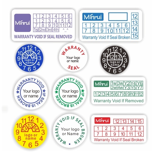 Custom small round date warranty stickerround eggskin destructible labels with custom logo or name