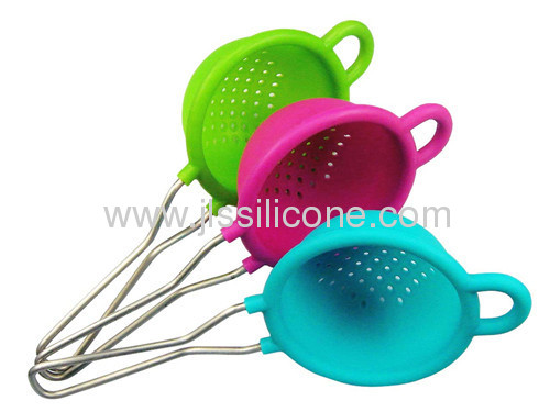 New arrival kitchen tool silicone skimmer with stainless steel line handle