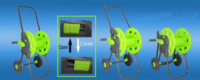 Garden Folded Hose Reel Cart For 45M 1/2PVC Garden Hose