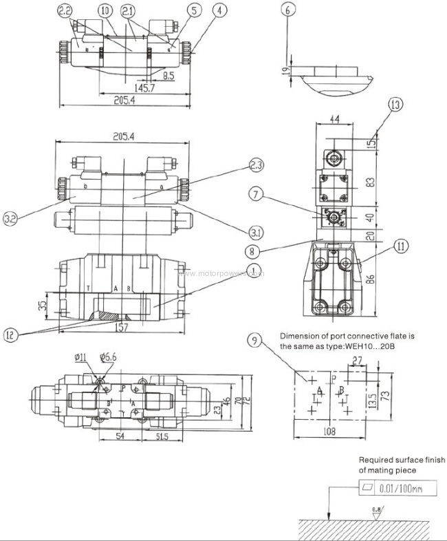 Electro-hydraulic operated valve with subplate mounting