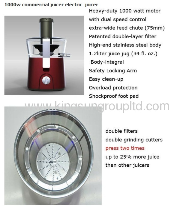 1000w electric juicer plastic juicer