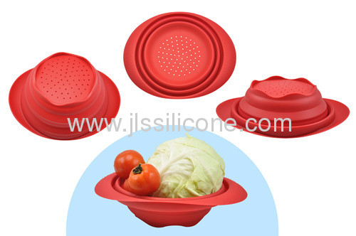 kitchen tools silicone folded bowl with holes on bottom for wash