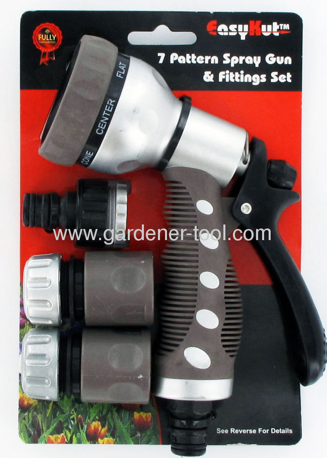 Plastic 7-Function Garden Hose Nozzle With Chromium Plating At Surface