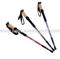 Three straight handle cork mountaineering rod/stick/old man ski rod rod