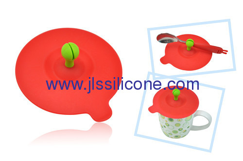 Quality kitchen tool silicone cup lid with spoon holder