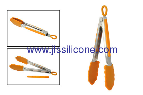 Silicone food tongs with stainless steel handle in 9 inch