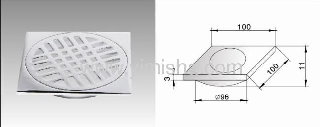 Square Zinc Alloy Chrome PlatedFloor Drain with Outlet Diameter 96mm