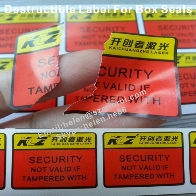Tamper Evident Labels For Box Package Easy Broken From