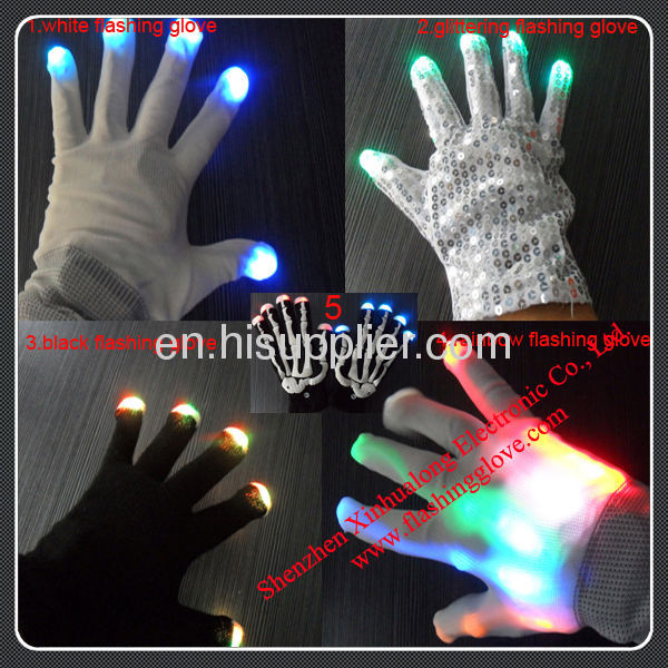 LED Glowing Gloves as Halloween Supply
