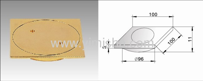 Square Zinc Alloy Gold Plated Floor Drain with Clean Out