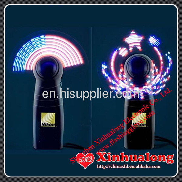 Promotion LED Flashing Fan with Programmable massage for advertising