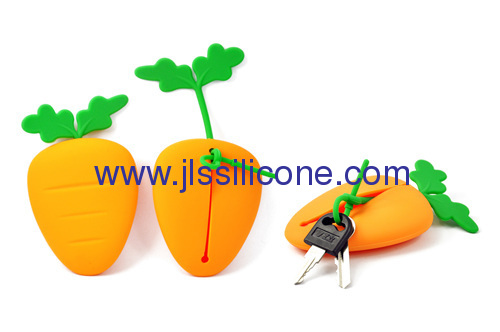 Carrot shaped silicone keychain
