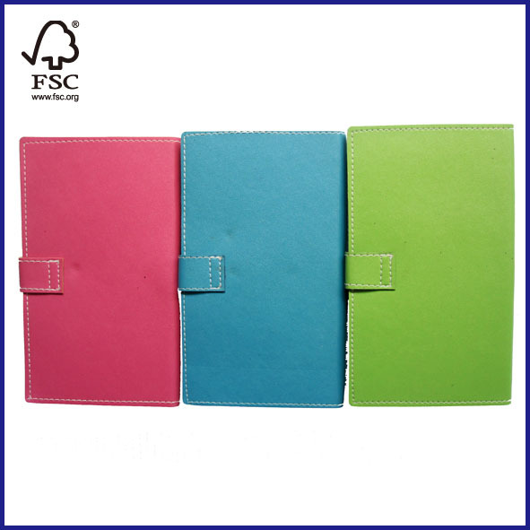 Leather cover notebook with a clasps