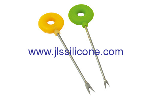 Donut style silicone fruit fork