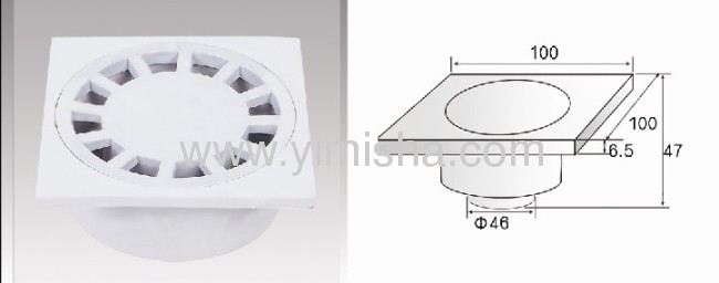 Square Plastic Odorless Floor Drain with Outlet Diameter 46mm