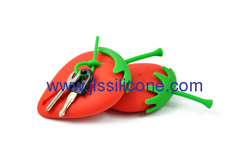 Strawberry style silicone keychain bag
