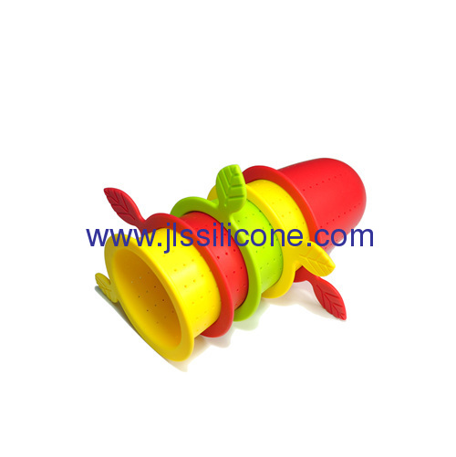 Leave shape silicone rubber tea infuser and strainer