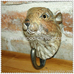 wood carved squirrel head hook