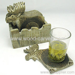 Wooden Carved deer shaped Coast Set