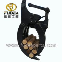 Mechanical excavator grabs grasping wood