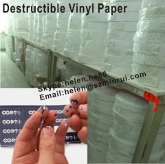Ultra Destructible Vinyl Paper For Customized Warranty Stickers,White Destructible Paper Material For Printing