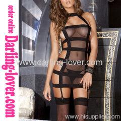 Sexy Spandex Black Mesh Dress
