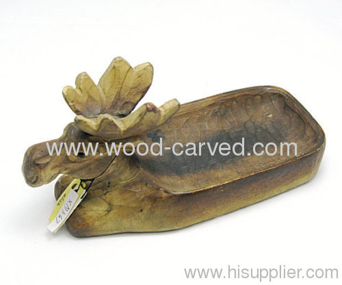 Wood carved deer soap dish