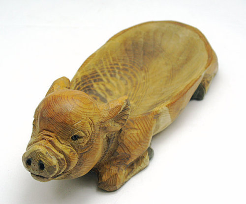 Wood carved pig soap dish