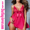 Rose Sexy Mesh babydoll with Lace Bra