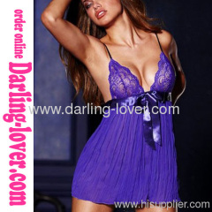 Sexy Purple Mesh Babydoll With Lace Bra