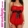 Red Sexy Mesh Babydoll With Stripe