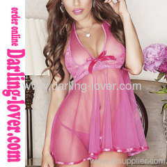 Pink Sexy Fashion Mesh Dress with Lace