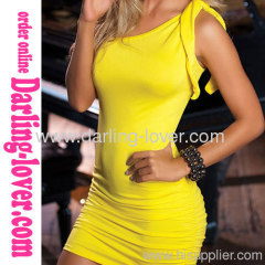 Sexy New Wholesale One Shoulder Cheap Yellow Mini Dress