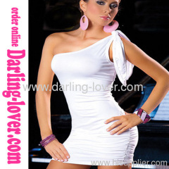 Sexy One Shoulder White New Two Side Wear Wholesale Mini Dress