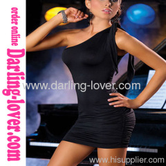 Black Sexy New Fashion Mini Dress with One shoulder and G-string
