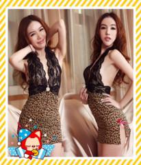 Women's Sexy Lingerie Babydoll V Leopard Sleepwear Dress+G-String