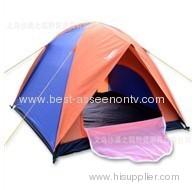 Three double pressure plastic tents