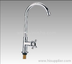 356mmx G1/2x dia.22mmx dia.18mm Vertical Polished Kitchen Faucet with Single Cross Handle