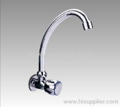 Horizontal Brass Ceramic Sheet Chrome plated Kitchen Faucet with Polish
