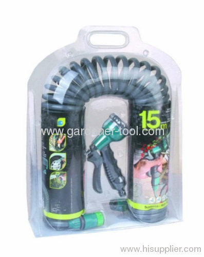 50FT Garden Contract Water Hose With Plastic 8-pattern Water Spray Nozzle